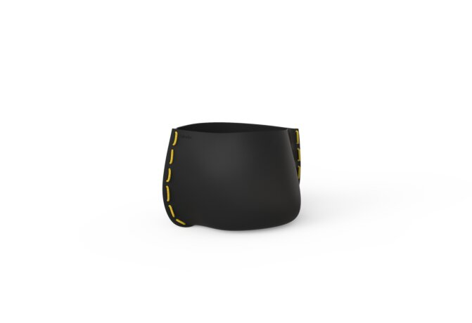 Stitch 25 Plant Pot - Graphite / Yellow by Blinde Design