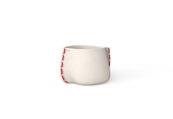 Stitch 25 Plant Pot - Bone / Red by Blinde Design