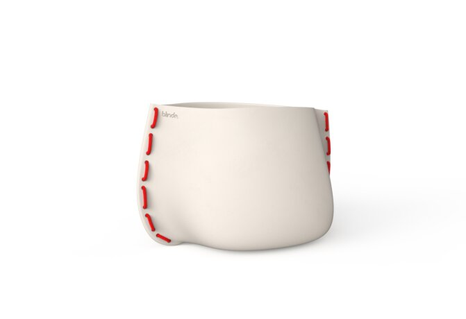 Stitch 75 Plant Pot - Bone / Red by Blinde Design