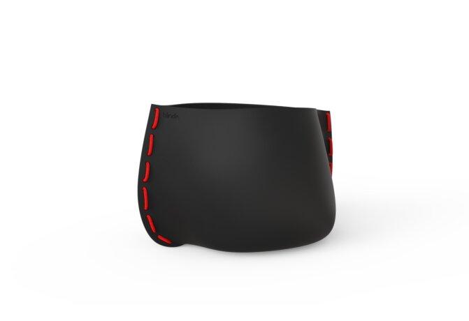 Stitch 75 Plant Pot - Graphite / Red by Blinde Design