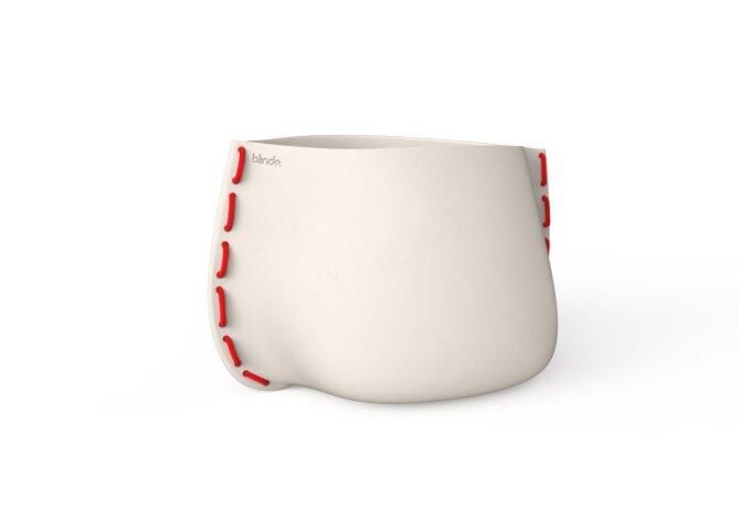 Stitch 100 Plant Pot - Bone / Red by Blinde Design